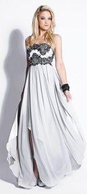Silver & Black Embroidered Chiffon Strapless Empire Waist Dress
