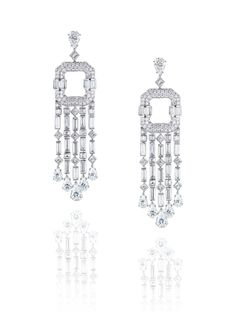 LEVIEV Diamond Earrings totaling carats, handcrafted in platinum and 18 karat white gold High Jewelry, Luxury Jewelry, Jewelry Art, Fashion Jewelry, Gold Diamond Earrings, Diamond Jewelry, Platinum Earrings, Gold Platinum, Titanic Jewelry