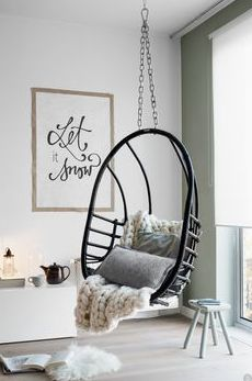 Indoor Swing Chair for Bedroom. Indoor Swing Chair for Bedroom. Indoor Swing Chair for Bedroom Small Living Room Layout, Small Living Rooms, Home And Living, Cozy Living, Living Spaces, Living Room Chairs, Living Room Decor, Bedroom Decor, Bedroom Swing