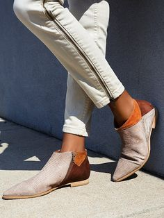 Desert Rider Ankle Boot | Ankle boots featuring pieced suede and leather fabrication with color blocking detail. Snakeskin-inspired texture and pointed toe. Subtle stacked heel and inner zip for an easy on/off.