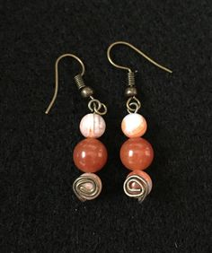 Fire Agate and Carnelian Earrings by BoomChakraLaka on Etsy