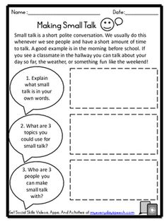 Free worksheets to work on conversation skills such as making small talk, acting like you are interested, and making a good first impression. Social Skills Lessons, Social Skills Activities, Teaching Social Skills, Counseling Activities, Therapy Activities, Life Skills, Play Therapy, Therapy Ideas, Speech Therapy