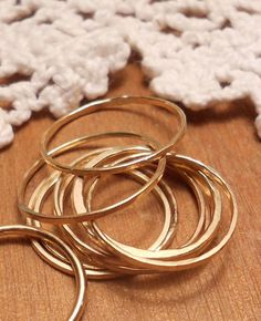 First knuckle Thin gold ring, band for the finger tip, between knuckle ring size 2, 3, 4. Set of 3 rings of your size choice