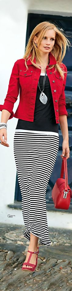 Gorgeous look red denim, stripes skirt, black top