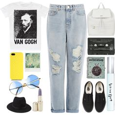Art Hoe by xrosediumx on Polyvore featuring polyvore fashion style Warehouse Vans DKNY Gucci Forever 21 Versus Kate Spade Polaroid indie art urban fresh