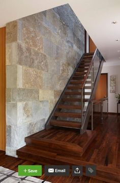 Feature Wall Staircase Design Ideas, Pictures, Remodel and Decor Staircase Pictures, Modern Staircase, Staircase Walls, Staircase Ideas, Open Stairs, Floating Stairs, Wooden Staircases, Stairways, Stone Wall Design