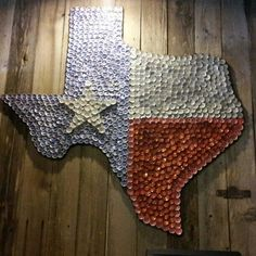 Beer bottle cap art of the great State of #Texas