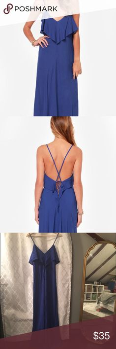 Lulu's Backless Maxi Dress LOVE this royal blue maxi dress -- only worn ONCE and in nearly perfect condition. 100% rayon, hand washable, and sold out online! Lulu's Dresses Maxi