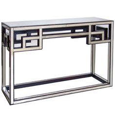 Worlds Away Fretwork Antique Mirror Console Table