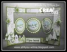"""Een witte of een groene kerst? Wilma maakte een combinatie: https://www.crealies.nl/detail/1689095/16-12-10-wilma.htm &  http://crealies.blogspot.nl/2016/12/merry-christmas.html  Crealies stansen/dies: Crealies Create A Card no. 15 Download CCAC no. 15 download no. 1 Decorette no. 18 Set of 3 no. 24 Set of 3 no. 38 Set of 3 no. 39 Uno no. 39 Crea-Nest-Lies XXL no. 41 Crea-Nest-Lies XXL no. 49 Tekststans no. 19 """"Fijne kerst""""  Crealies stempels/stamps: Bits & Pieces no. 11 Bits & Pieces no. 43"""