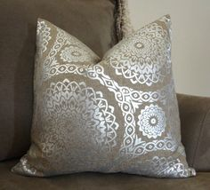 Decorative Natural & Silver Holiday Pillow Cover by HomeLiving
