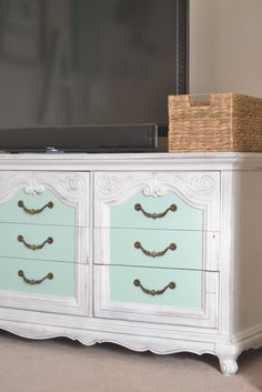 Vintage Dresser Redo. Seaglass by Martha Stewart for Home Depot | Paddington Way.