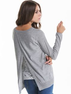 Jersey cuello redondo encaje-gris 20.10