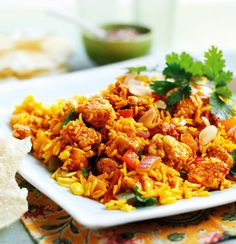 This Quorn Biriyani includes succulent Quorn Chicken style pieces and with just 0.9g saturated fat, you won't need to feel guilty about seconds. http://www.quorn.co.uk/recipes/vegetarian-chicken-biriyani/