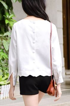 Back Buttons Scalloped Blouse