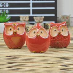 3 unids/set BÚHO De Cerámica artesanías ornamento hecho a mano regalo de cumpleaños creativo adornos accesorios de decoración del hogar casado Regalo del juguete del cabrito(China (Mainland))