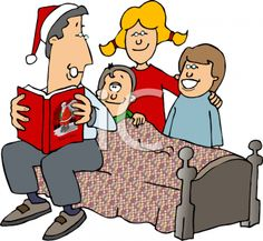 Father reading Christmas story to family.