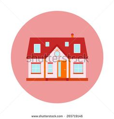Vector house, home symbol. Flat design icon. Architecture estate illustration. Building with trees, door, windows. Red, pink colors. - stock vector