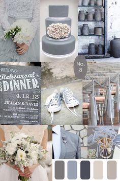 The past couple days have been a little grey but thats not stopping the great wedding inspiration the color inspires! Grey wedding dress from Samm Blake via Grey Likes Weddings :: Grey ruffled wedding cake via Wedding Cake Style :: Grey vessels :: Grey chalkboard invitation from Luxe Paperie ::                                                                                                                                                      More
