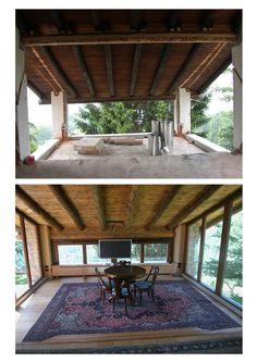 Ristrutturazione rustico - Recupero del sottotetto, un tempo fienile, a zona soggiorno, aperto completamente sulla natura circostante - Maria Teresa Azzola Designer - Sommi Zandobbio (BG) 2001-2002