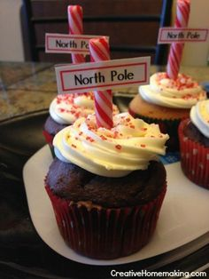 North Pole cupcakes! These fun, festive cupcakes are easy to make and surprise friends and family with this holiday season.