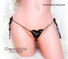 Mini open thong mini flower ouvert panties crochet