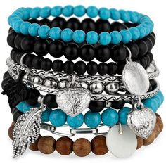 Turquoise, Wooden And Silver Metal Charm Bangle Pack ($23) ❤ liked on Polyvore