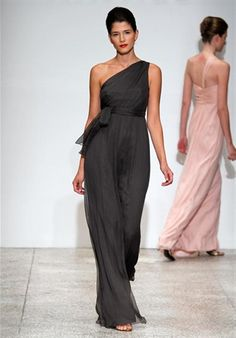 Para me.  Amsale dress.  Silk chiffon is still beachy.  I would do a messy low pony-tail to make it casual.