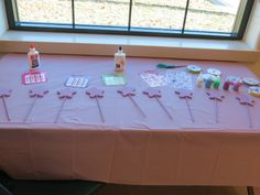 wand decorating station at a ballerina birthday party.  (could be good for a princess party or fairy party too!) #wands #decorating #birthday #ballerinabirthday #5thbirthday #littlegirlsparty