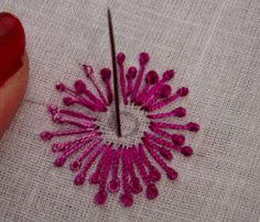 Embroidery Patterns French knot stitch is also used widely in Indian embroidery. French knot looks very nice with sequin work. French knot is best suited for. Embroidery Stitches Tutorial, Hand Embroidery Patterns, Embroidery Techniques, Embroidery Kits, Machine Embroidery, Creative Embroidery, Embroidery Digitizing, Embroidery Needles, Embroidery Supplies