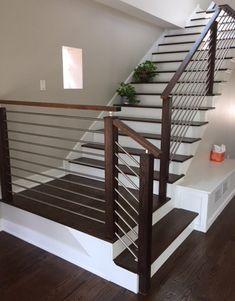 Wooden Staircase Design, Interior Stair Railing, Modern Stair Railing, Stair Railing Design, Home Stairs Design, Wooden Staircases, House Design, Modern Stairs Design, Stair Case Railing Ideas