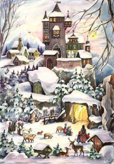 One of my favorite things about Christmas were the paper Advent calendars from Germany. No chocolates or little toys, just glittery cards that popped open to sweet little images that made my heart sing. Simple things are often the most memorable. Christmas Scenery, Days To Christmas, German Christmas, Vintage Christmas Cards, Vintage Cards, Xmas, Family Christmas, Christmas Ornaments, German Advent Calendar