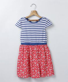 Another great find on #zulily! Red & Blue Floral Dress - Infant, Toddler & Girls #zulilyfinds