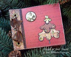 Santa Mini Album ~*~ Brushed Christmas rubber stamp set ~*~ Vintage Santa rubber stamp set ~*~ Holiday Wreath rubber stamp set ~*~ Woodrowe Keepsake Album Kit ~*~ from Red Rubber Designs www.RedRubberDesigns.com
