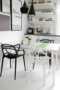 Masters Chair by Kartell (black) and Alchemia Chair by Calligaris (white)