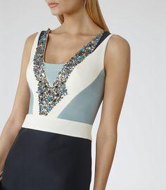 Reiss Liana Women's Black/white/blue Smoke Embellished-front Dress