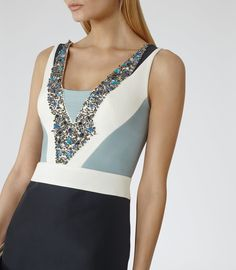 Womens Black/white/blue Smoke Embellished-front Dress - Reiss Liana