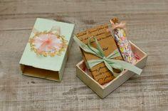 altered vintage matchbox with a bon bon recipe and sprinkles inside