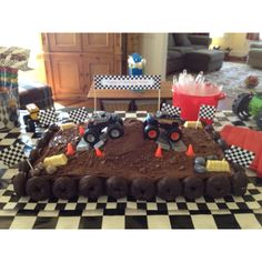 The next monster truck cake ideas are decorating as the real show. Bake a square cake and spread diluted chocolate. Smash Oreo or black biscuit to have an ...