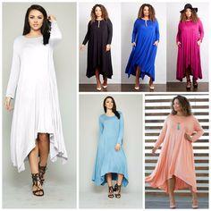 ef2ecdc96c17d Plus Size Boho LONG SLEEVE FLOWY Asymmetrical MAXI DRESS 7 Colors 1X-3X USA