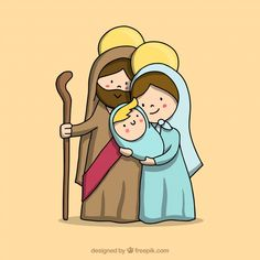 Discover thousands of copyright-free vectors. Graphic resources for personal and commercial use. Thousands of new files uploaded daily. Cute Christmas Cards, Christmas Nativity, Xmas Cards, Christmas Art, Diy Xmas, Jesus Cartoon, Christmas Drawing, St Joseph, Christmas Activities