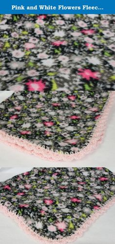"Pink and White Flowers Fleece Baby Blanket with Pink Crochet Edges. Pink and white flower fleece baby blanket. Fleece trimmed in Pink crochet edges. Measures 32"" x 35"". Machine wash warm, tumble dry low or line dry. Ready to Ship!."