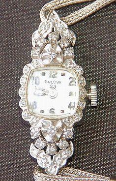 BULOVA WOMENS DIAMOND 14K GOLD WATCH VINTAGE * 32 DIAMONDS *