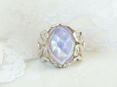 Large Sterling Silver 925 Moonglow Blue Opalite Sculpted Designer Ring Size 8 #Designer #Statement #Birthday Sterling Jewelry, Gemstone Jewelry, Sterling Silver, Ring Shapes, Light Reflection, Blue Rings, Unisex Fashion, Wholesale Jewelry, Ring Designs