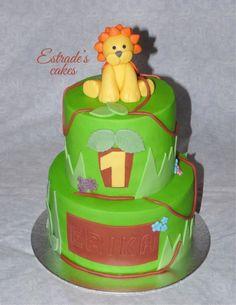 Estrade's cakes: tarta selva con león de fondant