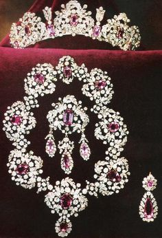 Pink Topaz Parure. Consisting of a tiara, brooch, necklace, and earrings (only one is showing). Owned by Italian royal family.