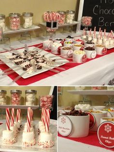 Hot Chocolate Bar:  Mini/Reg Marshmallows Mini M's (blue and white) Sprinkles Whipped Cream Chocolate or Caramel Syrup Chopped Peanut Butter cups Crushed/ Reg Candy Cane Chocolate coated spoons