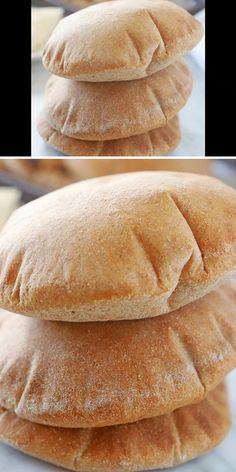 Whole Wheat Pita Bread, Wheat Bread Recipe, Soft Bread Recipe, Soft Burger Buns Recipe, Baking Recipes, Easy Bread Recipes, Homemade Pita Bread, Step Guide, Bread Bun