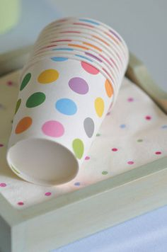Funky polka dot cups make for great decor and makes the theme even more fun!