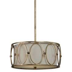 This unique drum pendant lighting option will look great hanging in any room of your home. Featuring an adjustable rod, a beige linen shade and antique gold leaf finish, the three-light fixture with blends in especially well with vintage-style decor.